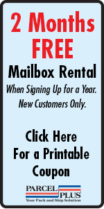 2 Months FREE Mailbox Rental at Parcel Plus Sugar Land