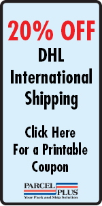 20% OFF DHL International Shipping at Parcel Plus Sugar Land